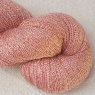 Seashell - Pale shell pink Merino and silk blend lace weight yarn. Hand-dyed by Triskelion Yarn.