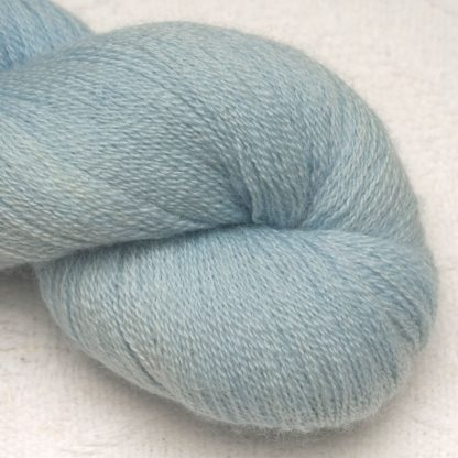 Pale powder blue Bluefaced Leicester laceweight yarn hand-dyed by Triskelion Yarns