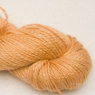 Apricot - Pale warm orange Baby Alpaca, silk and linen Mid-toned blue violet light DK yarn. Hand-dyed by Triskelion Yarn.