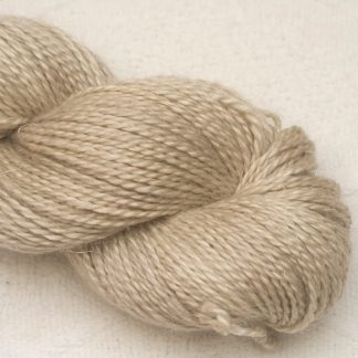 Biscuit - Pale brown Baby Alpaca, silk and linen Mid-toned blue violet light DK yarn. Hand-dyed by Triskelion Yarn.