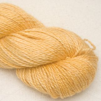 Illuminate - Warm yellow Baby Alpaca, silk and linen Mid-toned blue violet light DK yarn. Hand-dyed by Triskelion Yarn.
