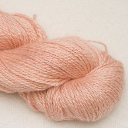 Seashell - Pale warm pink Baby Alpaca, silk and linen Mid-toned blue violet light DK yarn. Hand-dyed by Triskelion Yarn.