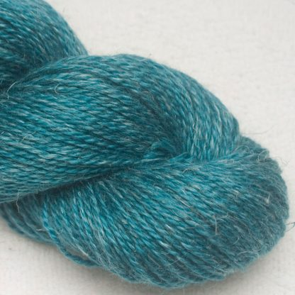 Upstream - Mid-tone turquoise green Baby Alpaca, silk and linen Mid-toned blue violet light DK yarn. Hand-dyed by Triskelion Yarn.