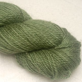 Vetiver - Mid to dark leafy green Baby Alpaca, silk and linen Mid-toned blue violet light DK yarn. Hand-dyed by Triskelion Yarn.